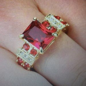 Gorgeous 3CT Red ruby yellow rhodium plated size 7